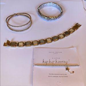 Jewelry - Bracelet lot links stretch cuff rhinestone